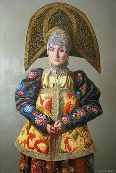 Russian traditional dress. I love the headdresses - they are called kokoshniks. The embroidery on the dress/tunic is exceptional.
