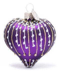 Purple Heart Shaped Glass Decoration | Christmas | Liberty.co.uk