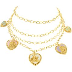 Bisou Bijoux Ariela Cameo Necklace Made of Love ($230) ❤ liked on Polyvore featuring jewelry, necklaces, accessories, bijoux, cameo necklace and cameo jewelry
