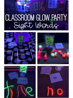 Throw a classroom sight words glow party. All the supplies, activities and fun that you need to throw a classroom glow party. These are the perfect activities and games for Kindergarten or first grade! First Grade Reading, First Grade Classroom, Future Classroom, School Classroom, Classroom Themes, Classroom Resources, Classroom Party Ideas, Esl Resources, Classroom Supplies