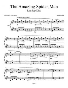 The Amazing Spider-Man - Rooftop Kiss (Love Theme) - James Horner | Piano Plateau Sheet Music
