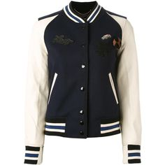 Coach patch-embellished varsity jacket (2.545 BRL) ❤ liked on Polyvore featuring outerwear, jackets, blue, college jacket, patch leather jacket, blue letterman jacket, varsity style jacket and teddy jacket
