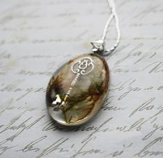 Lost Key Necklace Real Moss Resin Jewelry by Natural Pretty Things on Etsy <3 her