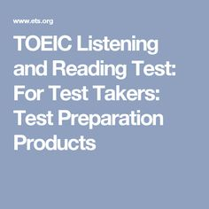TOEIC Listening and Reading Test: For Test Takers: Test Preparation Products