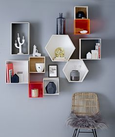 This would be a great idea instead of shelves in a kids room, each 'box' could be painted in a different colour to suit the room.