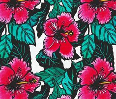 Hibiscus fabric, wallpaper and wall decals on Spoonflower - 295 custom hibiscus fabrics, wallpaper and wall decals