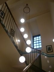 Custom Ring with staggered opal globes. Hand made in Yorkshire by Kansa Lighting Ltd. Visit www.kansacraft.co.uk