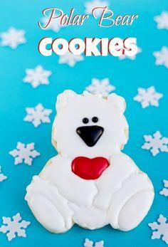 Polar Bear Cookies Decorated Christmas Cookies via www.thebearfootbaker.com