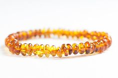 Pretty Baltic amber bracelet. Cognac polished by LuxuryBalticAmber, $12.61