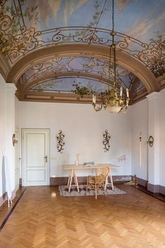 What a floor! What a ceiling! The Villa Lena artist studio in Tuscany.