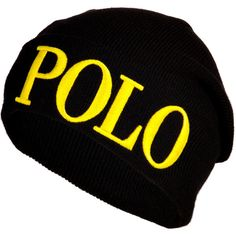 Polo Ralph Lauren Knit Logo Beanie ($47) ❤ liked on Polyvore featuring accessories, hats, beanie, black, knit beanie caps, polo ralph lauren, beanie cap hat, knit hat and black beanie