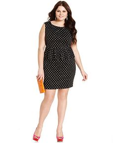 Soprano Plus Size Dress, Sleeveless Polka-Dot Peplum - Plus Size Dresses - Plus Sizes - Macy's