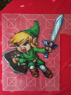 Toon Link perler beads by (sprite by AbyssWolf) Pixel Art Templates, Perler Bead Templates, Pearler Bead Patterns, Diy Perler Beads, Perler Bead Art, Perler Patterns, Pearler Beads, Fuse Beads, Link Pixel Art