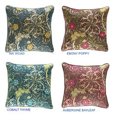 William Morris Seaweed Cushion Cover  Colour available Ink Woad Aubergine Bayleaf Cobalt Thyme Ebony Poppy  This cushion covers are backed in a neutral plain fabric  Cushions piped as pictured in a complimentary plain fabric  Please choose from the drop down box the size required  All our cushions are manufactured in our workroom and are made  to the highest professional standard all cushions are overlocked  to ensure no fraying and have a concealed zip opening we are extremely proud of the…