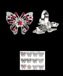 FASHION ASSORTED ADJUSTABLE BUTTERFLY RING-NEW/FREE SHIPPING