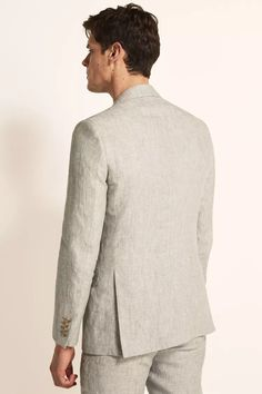 Tailored Fit Green Linen Suit Linen Suits For Men, Mens Suits, Green Jacket, Suit Jacket, Formal Men Outfit, Moss Bros, Oxford White, Linen Jackets, Fitted Suit