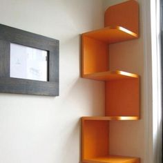 neat corner shelf for a kids room