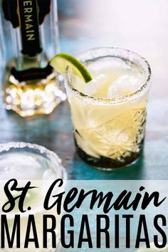 This St. Germain Margarita can be made with just 3 ingredients - tequila, elderflower liqueur and lime juice. You'll love this Elderflower Margarita recipe. Martini Recipes, Drinks Alcohol Recipes, Margarita Recipes, Cocktail Recipes, Drink Recipes, Margarita Cocktail, Cocktail Drinks, Fun Drinks, Yummy Drinks
