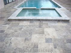 Words have little meaning with this one. Basically, the picture says it all. A beautiful job done with Travertine French Pattern Pavers for this pool deck remodel. Give us call today @ to see how we can help with with your pool or patio deck renovation. Pool Coping, Swimming Pool Tiles, Swimming Pools Backyard, Pool Decks, Portland, Stone Deck, Travertine Pavers, Pool Pavers, Pool Remodel