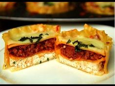 Lasagna Cups - BuzzFeed Food Recipe by Lauren's Latest: http://www.laurenslatest.com/lasagna-cups/ DIRECTIONS: For the sauce- heat olive oil over medium heat...