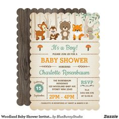 Woodland baby shower invitation featuring adorable forest animals - bear, deer, fox, chipmunk and a rabbit Perfect for a gender neutral or boy baby shower / sprinkle Gender: unisex. Invitation Baby Shower, Baby Shower Invitations For Boys, Babyshower Invites, Forest Baby Showers, Baby Shower Invitaciones, Woodland Baby, Woodland Forest, Woodland Theme, First Birthday Invitations