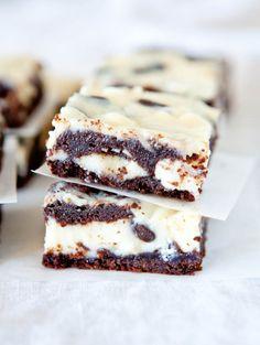 White and Dark Chocolate Cream Cheese Chocolate Cake Bars - Chocolate cake with chocolate chips, white chocolate chips & filled with cream cheese! Fast, easy & foolproof!
