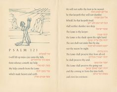 French-fold keepsake in honor of publisher Alfred A. Knopf, with the full text of Psalm 121 in English and Hebrew, using Ismar David's Photoletting typefaces: I will lift mine eyes up unto the hills, from whence cometh my help. … Offset, 1965.  This keepsake is dedicated to Alfred A. Knopf, Publisher on his 50th anniversary by The Composing Room, Inc. Crafton Graphic Company, Inc. Photo-Lettering, Inc. and Ismar David 1965
