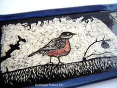 Red Robin Serving Tray Dining Platter in by GoldhawkPotteryEtc #pottery #tray #robin #bird #beautiful