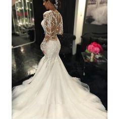 Mermaid Wedding Dresses 2016 Sheer Long Lace Appliques Sleeves Trumpet See Through Back Vintage Vestidos De Novia Online…