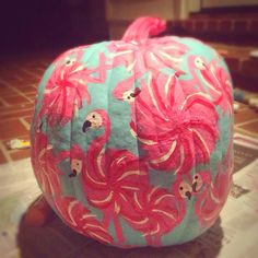 Lilly pulitzer flamingo pumpkin.