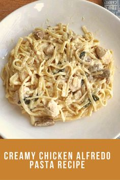 Chicken Alfredo Pasta Recipe is a white creamy pasta which is mixed with chicken, spinach, mushroom, and Cheddar Parmesan cheese Yummy Pasta Recipes, Best Chicken Recipes, Rice Recipes, Creamy Sausage Pasta, Creamy Pasta, Cold Pasta Dishes, Dinner Party Recipes, Chicken Alfredo, Cheddar