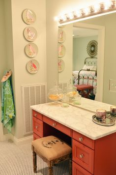Floors: guest bath.  Also love the colors! Conch shell pink and Sea salt