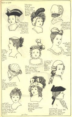 1700 - 1795 child head gear and hairstyles