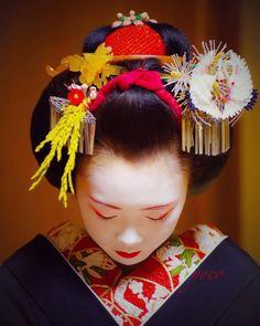 New Year 2017: super popular maiko Ichiyuu wearing formal ornaments for the New Year celebrations byyoco405_on Instagram  Maiko of Pontocho never wear seasonal January kanzashi but choose formal crane ones and doublebira bira, used also formisedashi