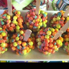 Trix Pops made just like rice crispy treats but using Trix cereal