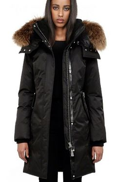 Mackage Chaska-F4 Long Black Down Parka Coat With Fur Hood on
