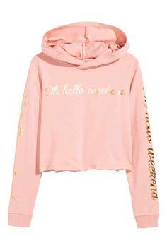 Cropped hooded top - Powder pink - Kids   H&M GB