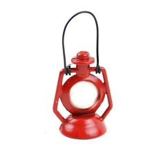 Miniature Dollhouse FAIRY GARDEN ~ Rustic Red Metal Lantern ~ NEW