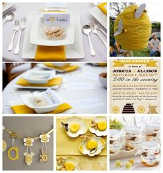 Too cute for words Bumble Bee Baby Shower Inspiration Board (yellow and brown color palette) + DIY beehive tutorial. More event decor inspiration on 3d-memoirs.com #babyshower #bumblebee #DIY