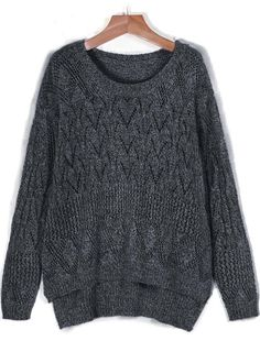 Shop Dark Grey Long Sleeve Geometric Pattern High-Low Sweater online. Sheinside offers Dark Grey Long Sleeve Geometric Pattern High-Low Sweater & more to fit your fashionable needs. Free Shipping Worldwide!