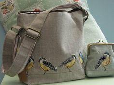 Shoulder Bags - Dear Emma Handmade Designs linen and machine raw applique