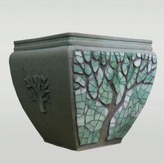 Flower pot, beautiful mosaic. More