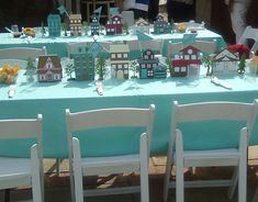 Custom made house and trees used as table decorations Jw Pioneer, Pioneer Life, School Decorations, Table Decorations, Pioneer Crafts, Pioneer School Gifts, School Tables, Jw Gifts, Dinner Themes