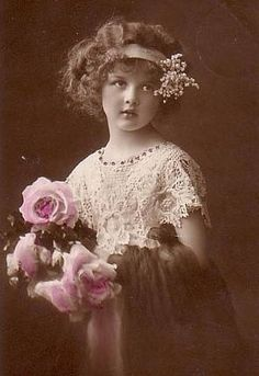 Girl with Roses Tinted Photo