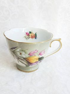 Daffodil Gray China Footed Tea Cup Porcelain Treasures Betty