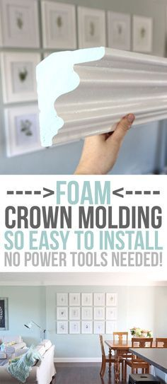 diy home upgrades FOAM crown molding is easier to install than traditional molding, but once its up, it looks the same! No power tools required, it is installed with glue. Pre-made corners available too! DIY home upgrades for the beginning remodeler. Cheap Crown Molding, Foam Crown Molding, Crown Moldings, Wood Molding, Molding Ideas, Crown Molding In Bathroom, Kitchen Cabinet Crown Molding, Moulding, Home Upgrades