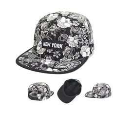 2014 New 5 Panel Camp Hat White Black Paisley Flower Floral Baseball Cap Goldtop #Goldtop #BaseballCap