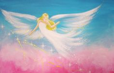 """HendriettesArt. Limited angel art photo """"I am happy"""", modern angel painting, contemporary artwork, picture frame, gift,"""