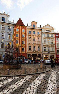 Houses at Staroměstský rynek Old Town, Prague, Czechia