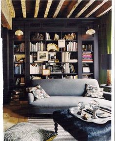 Love the bookshelves! Amazing way to organize a room, save space and highlight different interior design home design room design designs Decor, Home, Home Library, House Design, Home And Living, Furniture, Interior, House Interior, Living Spaces